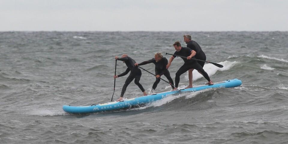 Mega SUP har seglat upp som en populär teambuildingaktivitet. Österlenmagasinet skickade ut ett salt gäng i Östersjöns vågor för att testa den nya flugan.