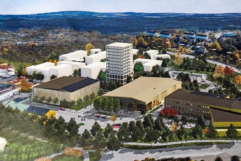 Den nya stadsdelen ska växa fram bakom parkeringshuset, till vänster, och idrottshallarna. Detta är en illustration som kommunen gick ut med när man bjöd in exploatörer till tävlingen.