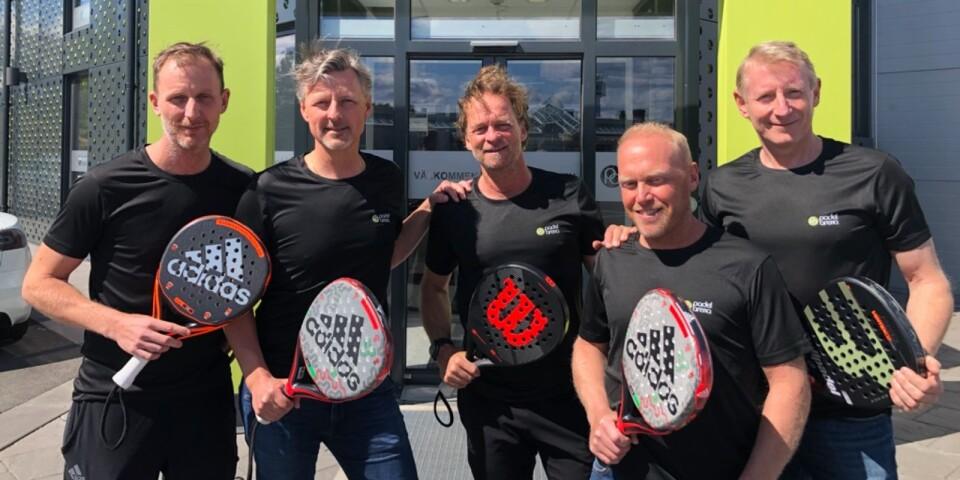 Martin Sjökvist, Thomas Nilsson, Stefan Wilson, Martin Mittbrodt och Hans Persson ska driva padelanläggningen i Borgholm.