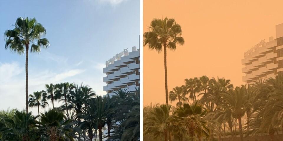 """Jenny Nilsson från Ystad har tagit båda bilderna från hotellbalkongen. """"Man kan tro att jag har använt ett filter på den högra bilden, men det har jag inte"""", förklarar hon."""