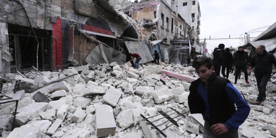 Förstörelsen i Idlib i Syrien är enorm. På söndagen rapporteras om nya ryska flygräder mot staden efter ett halvår av något slags vapenvila. Arkivbild.