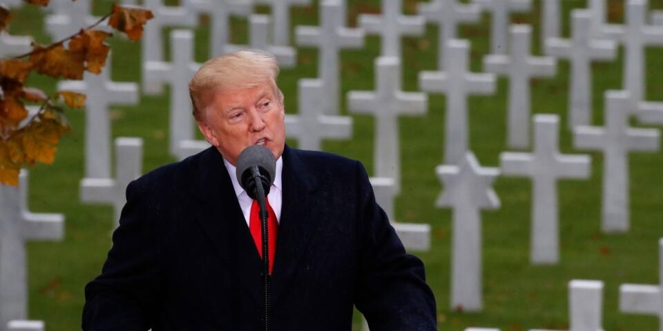 Donald Trump vid en ceremoni Frankrike 2018 i samband med 100-årsminnet av första världskrigets slut.