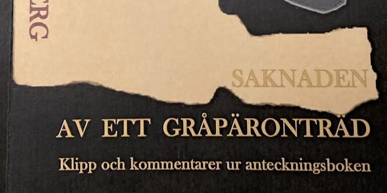 """Bokomslag, Peter Hultsberg, """"Saknaden av ett gråpäronträd"""""""