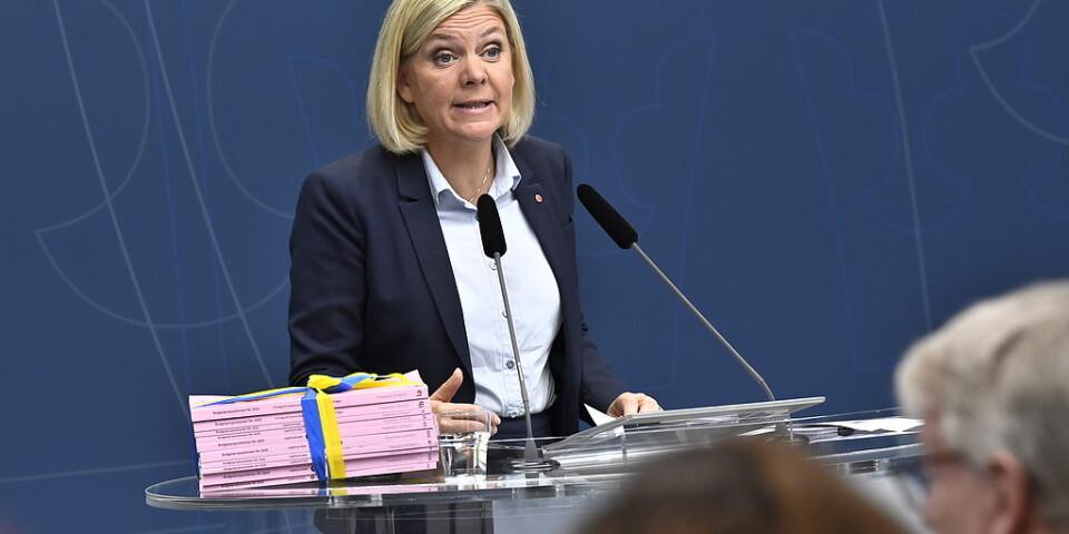 Finansminister Magdalena Andersson (S) presenterar budgetpropositionen för 2020 under en pressträff på Rosenbad i Stockholm.