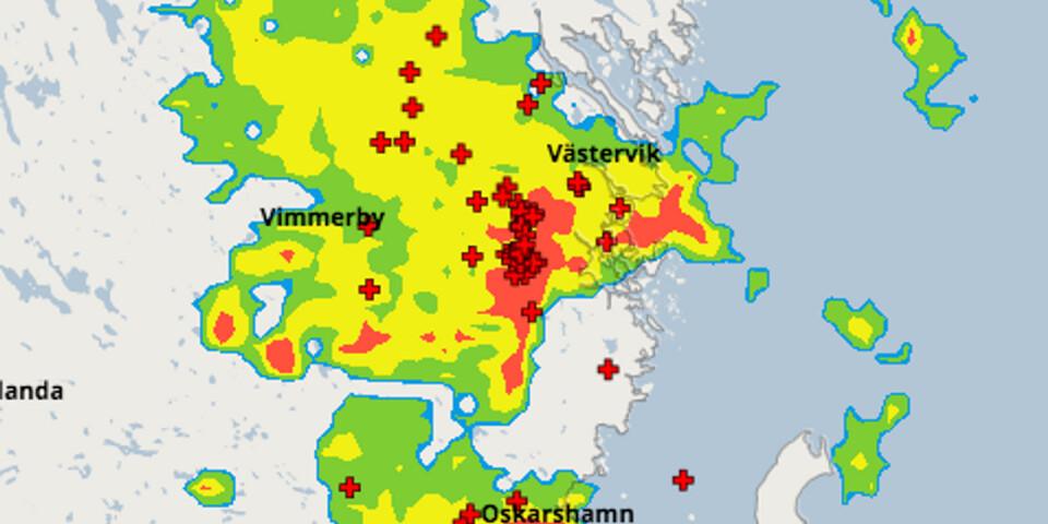 SMHI:s blixtkarta från klockan 09.30 i dag.