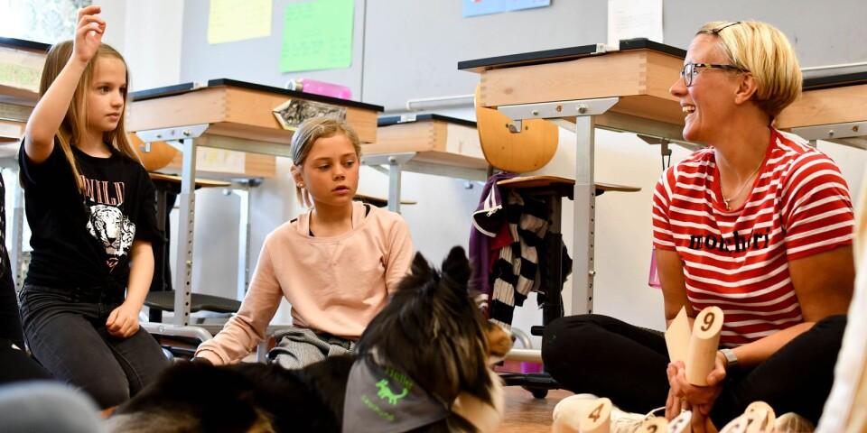Hunden Helle har nu tagit examen som skolhund och är redo att, tillsammans med matte Maria Månsson, arbeta med olika projekt för att locka till lärande och för att stärka barn och ungdomars självkänsla.