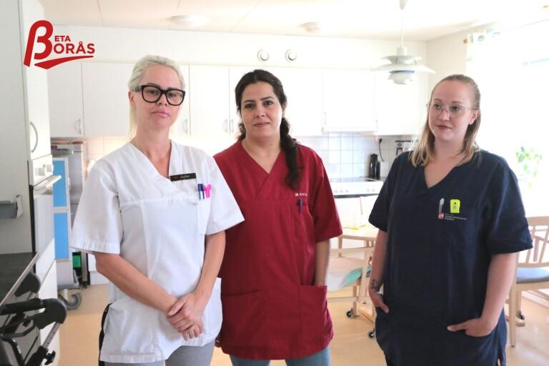 Sofia Persson, Kafaya El-Faraj och Anne Liljestrand är undersköterskor på äldreboendet Distansgatan 7. De tror det nya förslaget är bra för integrationen, men inte att det lockar fler till yrket.