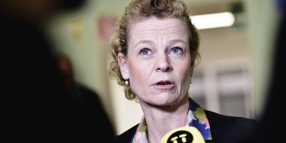 Postnords vd Annemarie Gardshol intervjuas efter trafikutskottets möte i riksdagen.