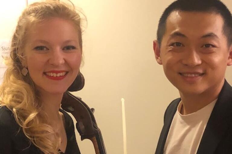 Amalie Stalheim och David Huang under konsert i Tingsryd i lördags.