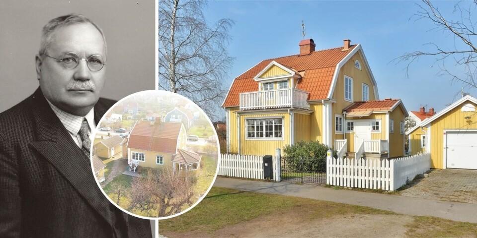 J Fred Olson och huset på Getingen som nu är till salu.