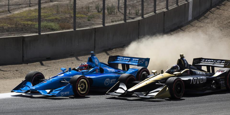 Felix Rosenqvist och Marcus Ericsson tampas på Laguna Seca Raceway i fjol.