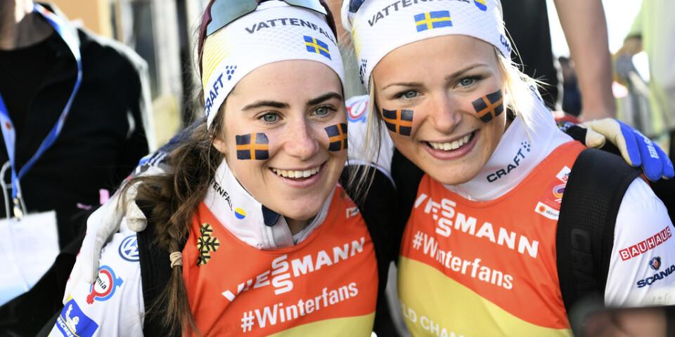 Ebba Andersson och Frida Karlsson är två av de svenska profilerna när Ski Tour 2020 inleds i Östersund i dag. Arkivbild.