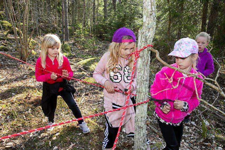 Flera gemensamhetsövningar ingick i vårvandringen. Här är det Siri Larsson, Ebba Likjegren, Julia Saari och Thea Andersson som tar sig igenom en av banorna.