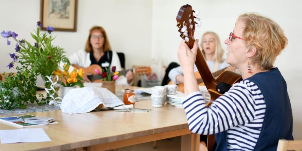 Ett annat initiativ som Gitte står bakom är gitarrkursen för personal inom äldreomsorgen.