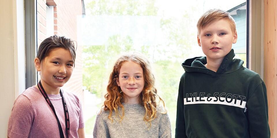 Alicia Blomqvist, Saga Juliusson och Theodor Lundin i klass 4d på Lindsdalsskolan, driver en egen tidning på fritiden.