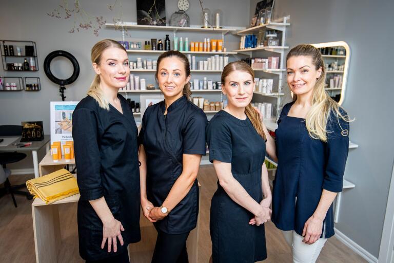 Sofie Swärd Nilsson, Louise Eskilsson, Maria Hillborg och Lina Swärd på Beauty by LIna.