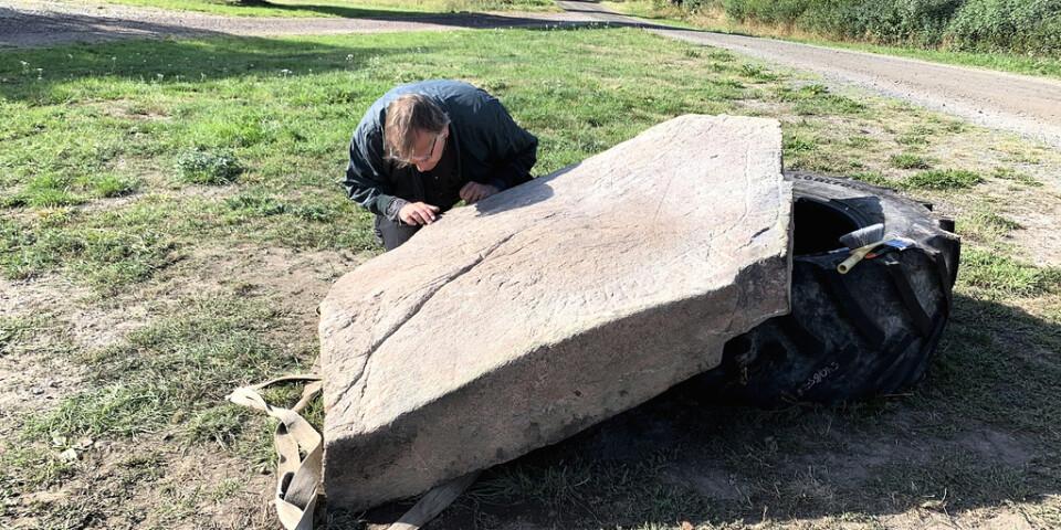 Runolog Magnus Källström, Riksantikvarieämbetet, studerar den nyupptäckta runstenen i Loftahammar i Småland.