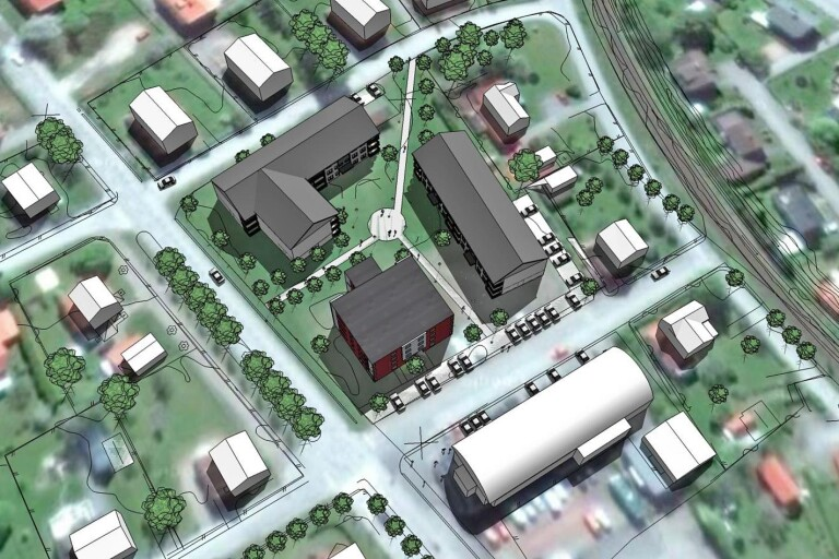 Exempel på möjlig bebyggelse i kvarteret Lyckan.
