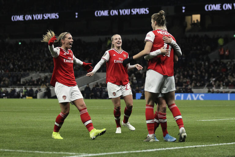 Spelarna i Arsenal fick måljubla tillsammans med Vivianne Miedema en hel del mot Bristol City. Arkivbild.