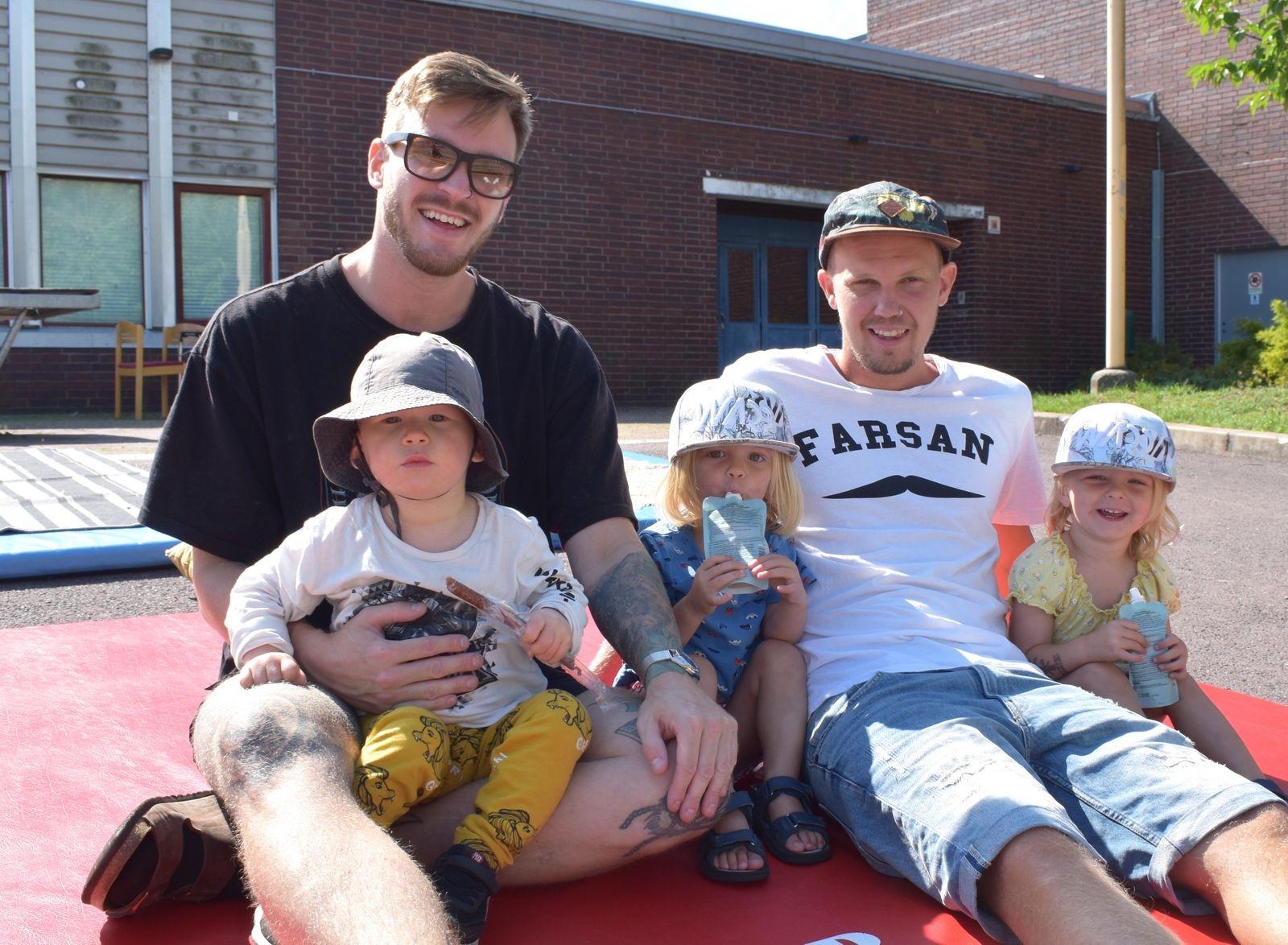 Olle & Loke Ljung tillsammans med Sebbe Ahlgren och barnen Neimy och Axelia.