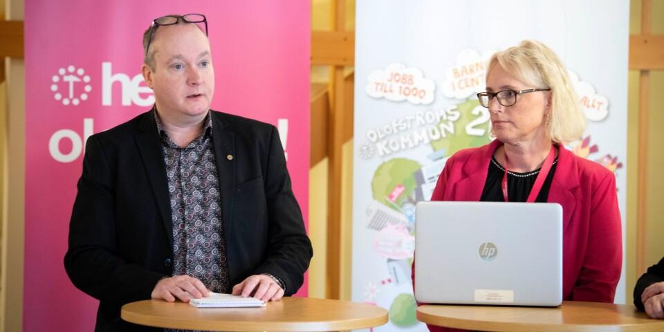 Kommunstyrelsens ordförande Morgan Bengtsson (S) och kommunchef Iréne Robertsson informerar om det rådande läget i Olofström, till följd av coronaviruset.