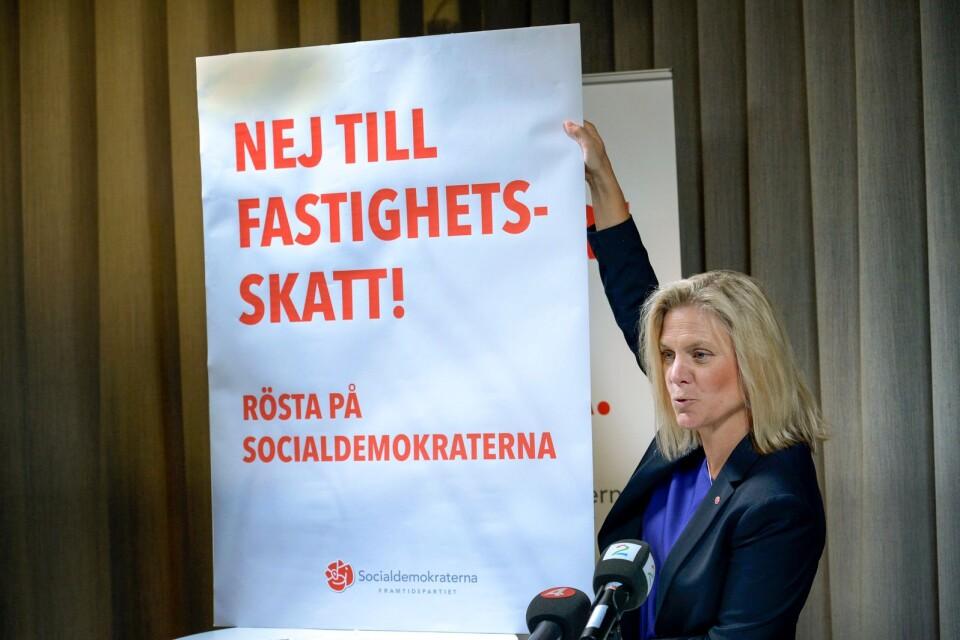 Finansminister Magdalena Andersson i valrörelsen 2014. Ni kräver Kalmars läns socialdemokrater en skatt på lyxbostäder.