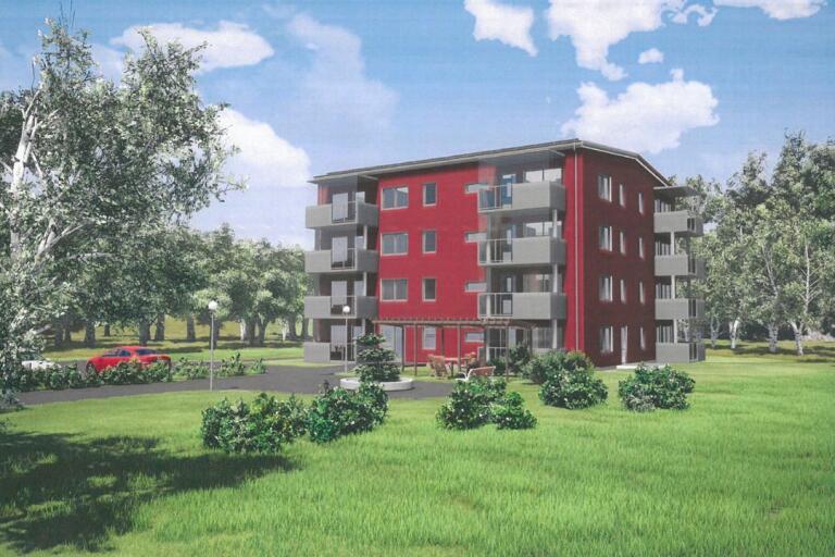 Nu byggs fyravåningshuset i Länghem – så ska det se ut