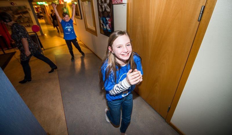 Final i Vi i femman. Femteklassarna från Karlskrona Montessorifriskola tog sig till stora finalen. Sigrid Tyrberg och Malte Gamelius