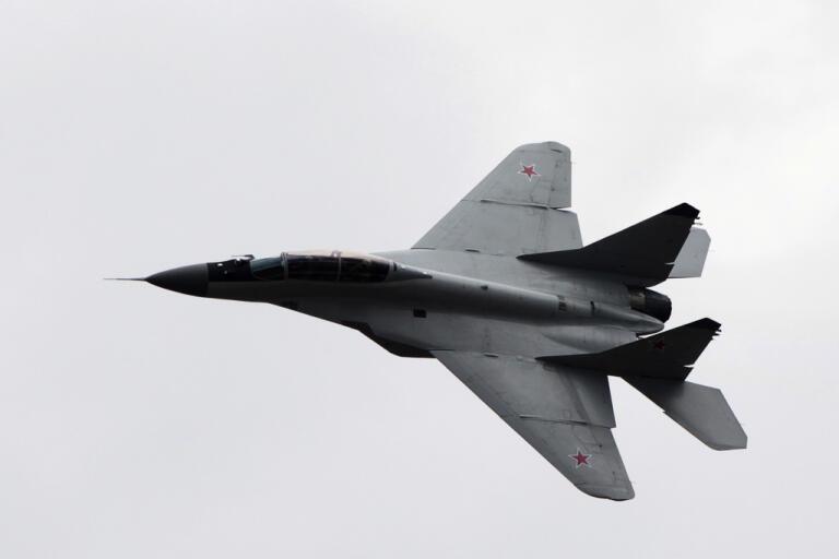 Ett ryskt stridsflygplan av typen Mig-29. Arkivbild.
