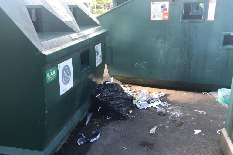 Det ställs stora säckar med blandat avfall intill containrarna. Sedan hackar fåglar sönder säckarna och sprider soporna.