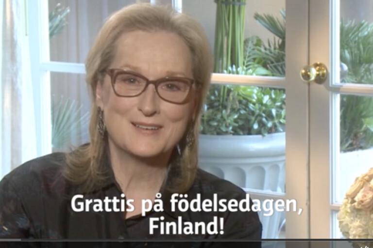 I finska tv-kanalen Yle gratulerade många världskändisar Finland, en av dem Meryl Streep.