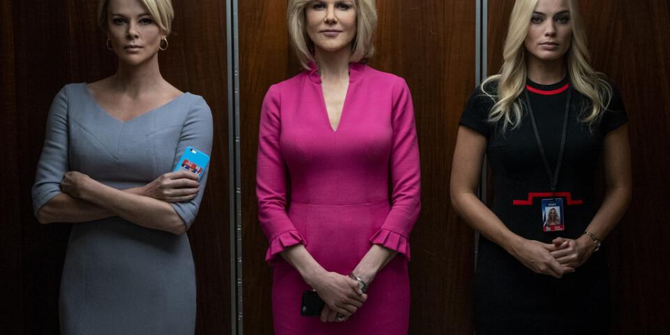 """Charlize Theron, Nicole Kidman och Margot Robbie i """"Bombshell – när tystnaden bryts"""". Pressbild."""