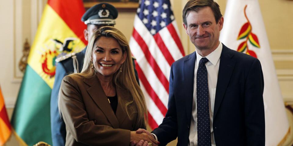 Bolivias interimspresident Jeanine Áñez skakar hand med USA:s utsände, statssekreteraren David Hale, i La Paz i tisdags.