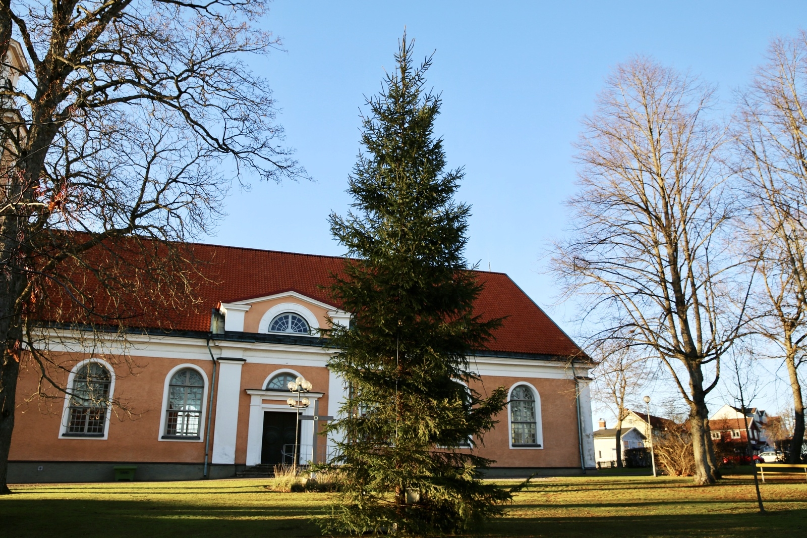 MÖNSTERÅS: Årets gran i kyrkparken i Mönsterås. Kommer från kommunens mark utanför Timmernabben.