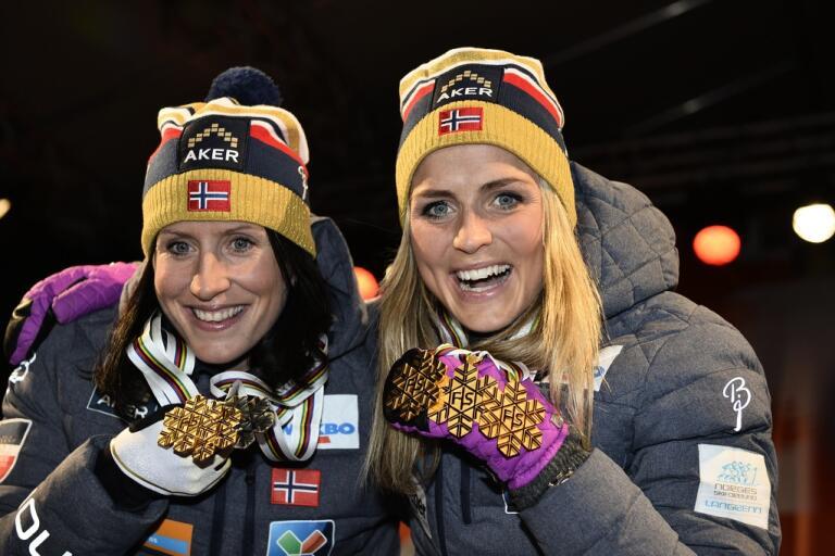 Marit Bjørgen och Therese Johaug tillhör samma långloppsteam. Kanske får comebackande Bjørgen sällskap i spåren av världsstjärnan Johaug i vinter. Arkivbild.