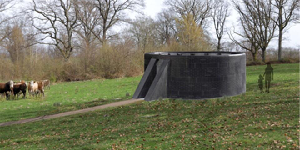 Verket är sex meter i diameter och 2,25 meter högt, byggs i hårdbränt tegel i nyanser av svart. Illustration: Mellanrum.
