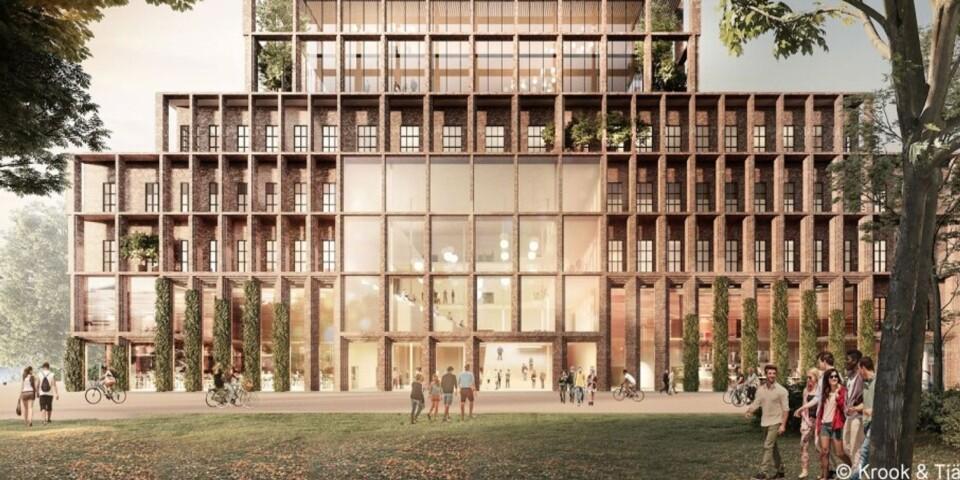 Så här kan nya Högskolan Kristianstad komma att se ut, på Tivolibadstomten (sett från Tivoliparken).