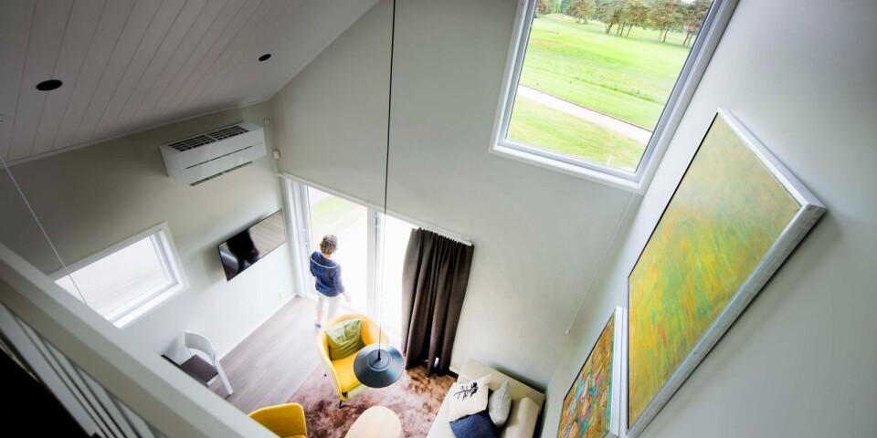 Samtliga hus har sovloft. Färgskalan är inspirerad av naturen utanför.