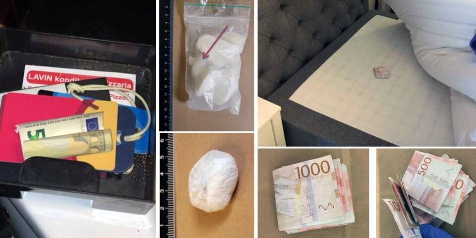 Polisen har gjort en mängd beslag så som narkotika och pengar, som bevisar den misstänktes roll i narkotikahandeln i centrala Kalmar.