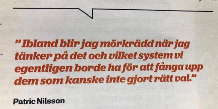 """Nilsson: """"Ibland blir jag mörkrädd när jag tänker på det"""""""