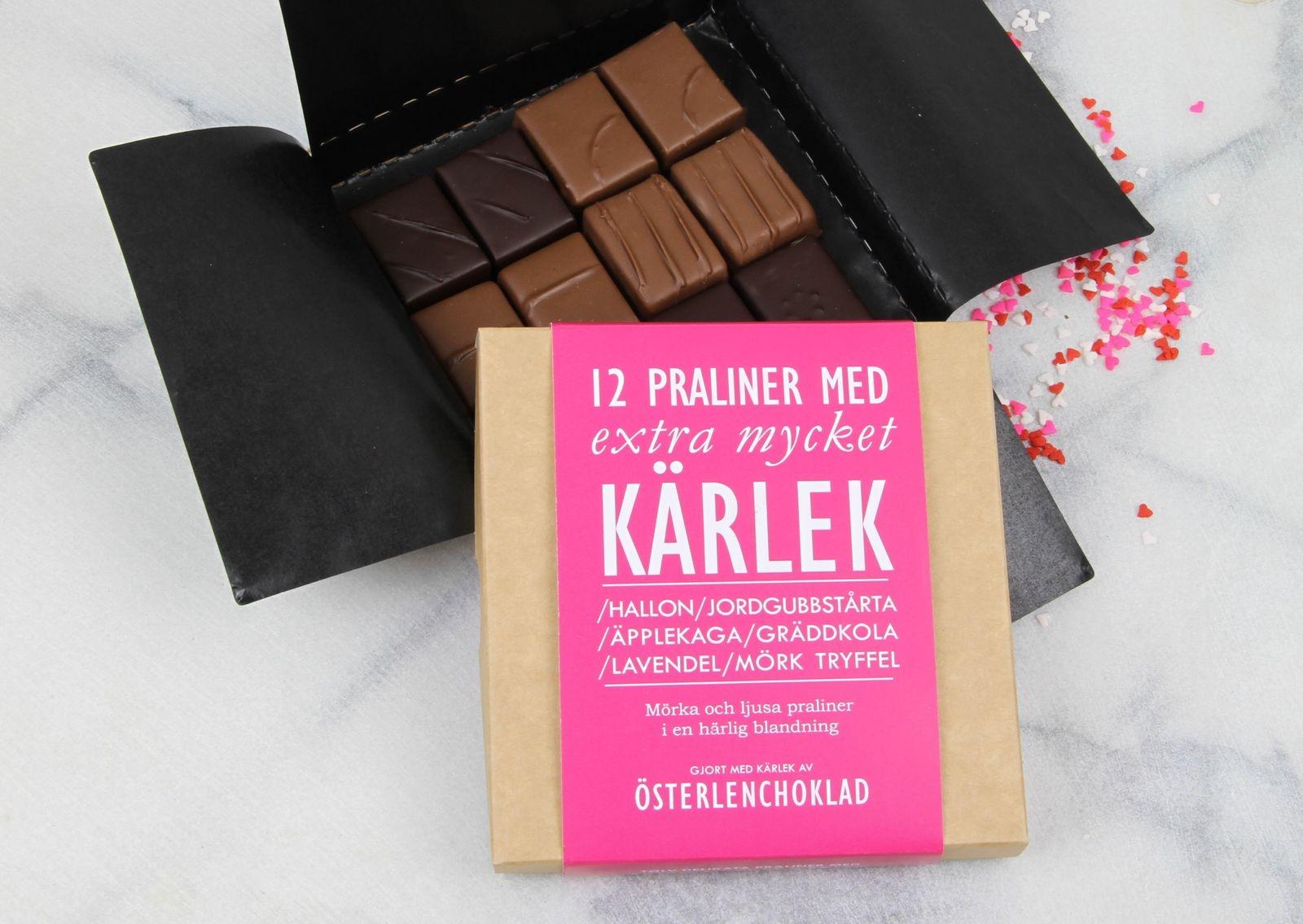 Österlenchoklad erbjuder en pralinask fylld med extra mycket kärlek inför alla hjärtans dag.