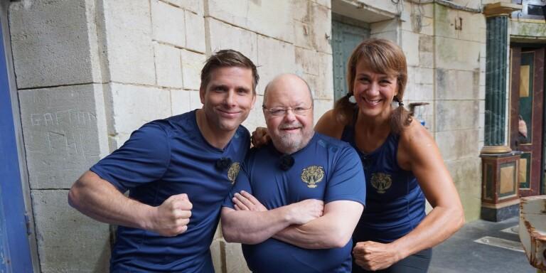Fångarna på fortet. Anders Svensson, Kalle Moraeus och Alexandra Zazzi.