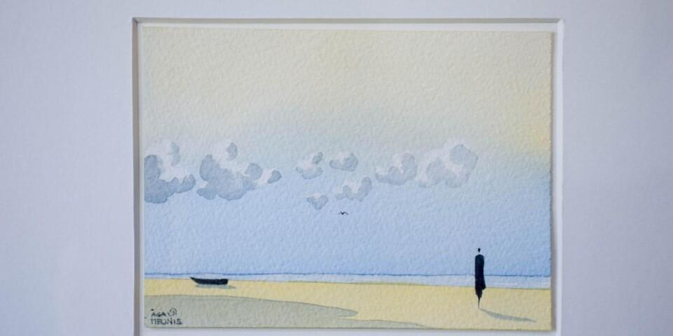 Åsa målar avskalade landskap, så som hon upplevde dem när hon först flyttade till Österlen.