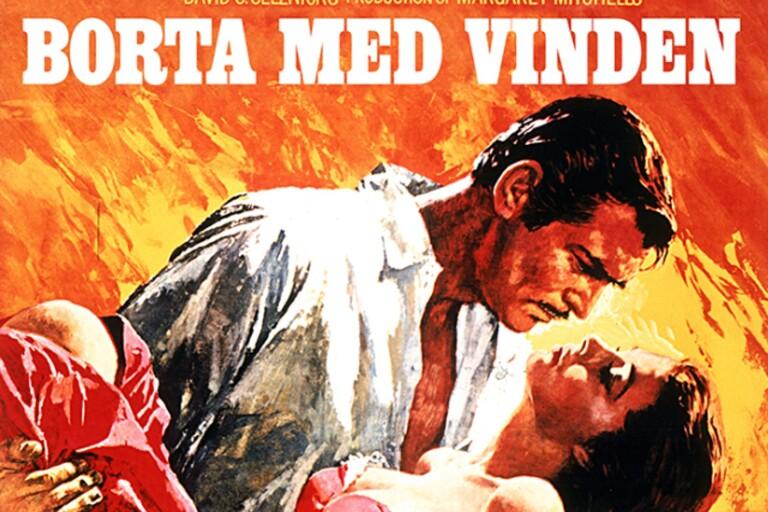"""""""Borta med vinden"""" gjorde succé världen över 1939.  Så också i Borgholm. Affischen från senare datum i samband med nylansering av filmen."""