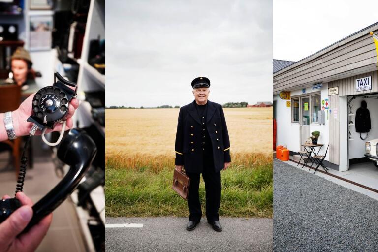 Från vänster: den första mobila telefonen användes redan på 50-talet. Kent Andersson står i reparatörsuniformen utanför sin gård i Håslöv. I taxiutställningen återfinns en Mercedes från 70-talet.
