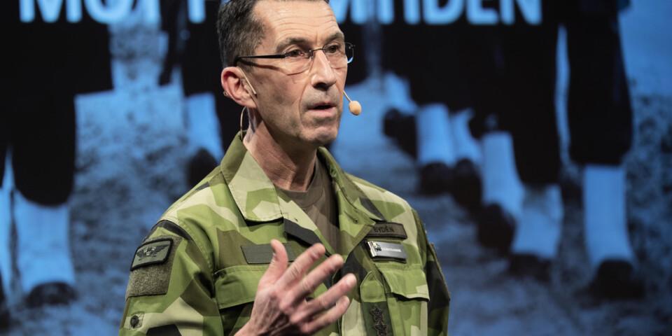 Överbefälhavare Micael Bydén talar på Folk och försvars rikskonferens på Högfjällshotellet i Sälen.