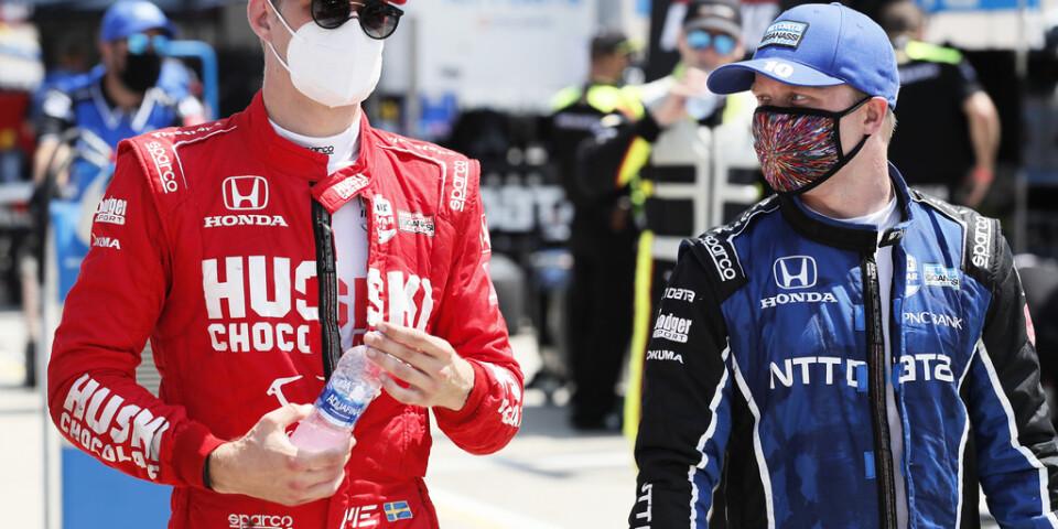Svenskduon Marcus Ericsson, vänster, och Felix Rosenqvist, är redo för den klassiska racingtävlingen Indy 500. Arkivbild.
